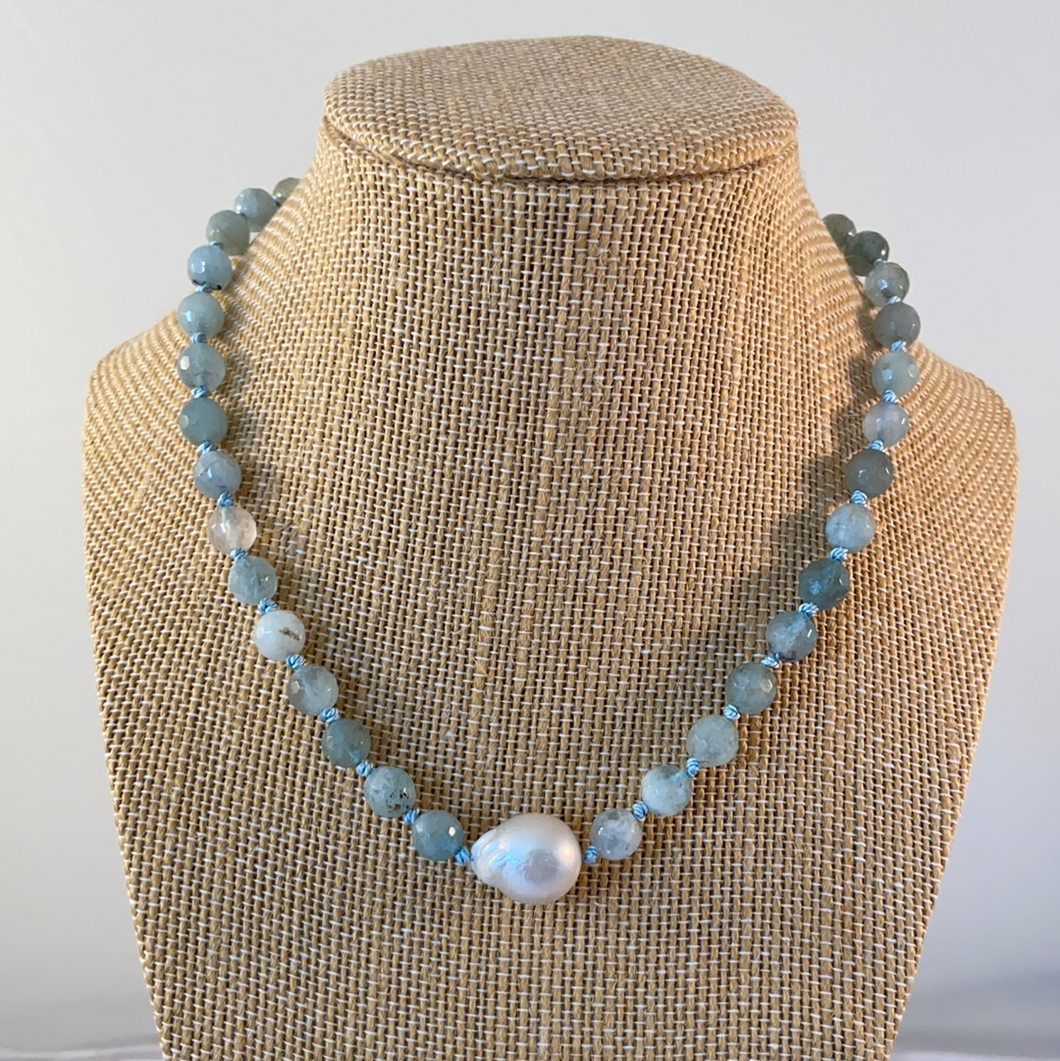 Aquamarine and Baroque Pearl N
