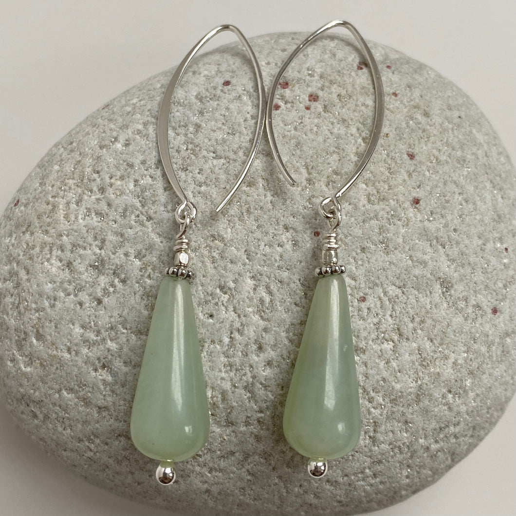 jade drop fish hook earring