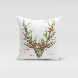 Reindeer Wreath Pillow Cover