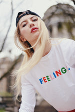 "Load image into Gallery viewer, The West of Breakfast x 123 Ciao ""Feelings"" Tee."