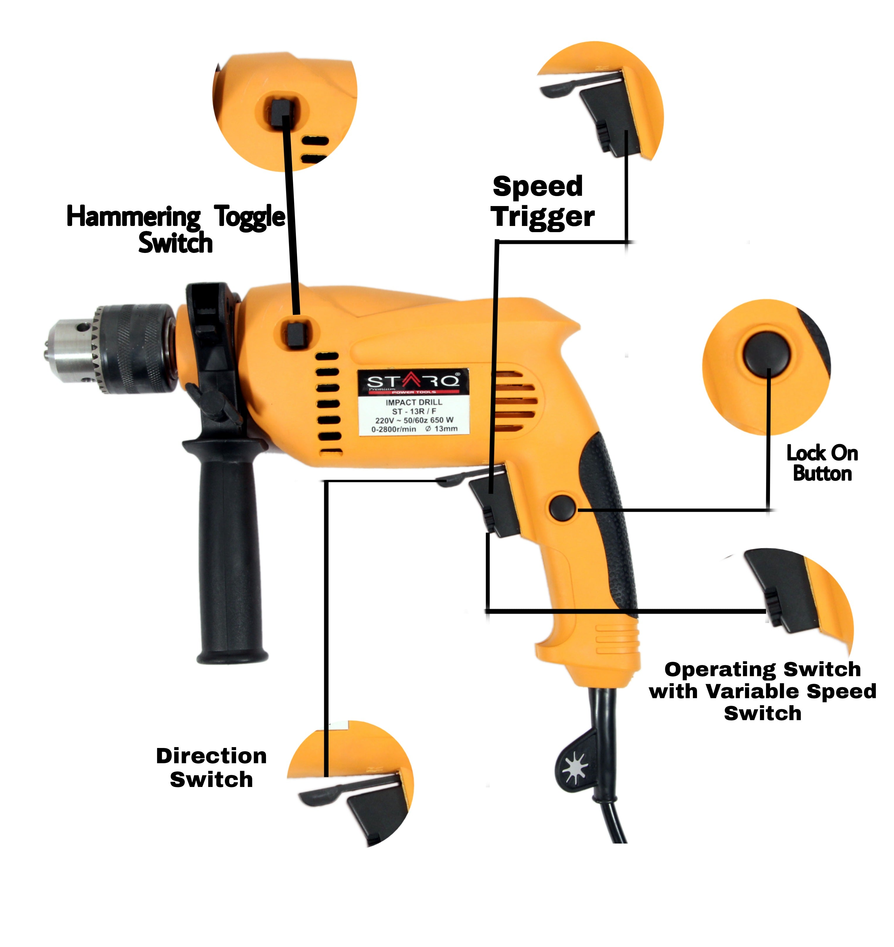 STARQ 13mm Impact Drill Machine Reversible Hammer Driver Variable Speed Screwdriver (Drill ONLY) Multi Color
