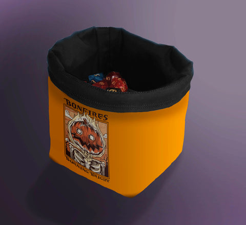 Printed Dice Bag-  Burning Pumpkin