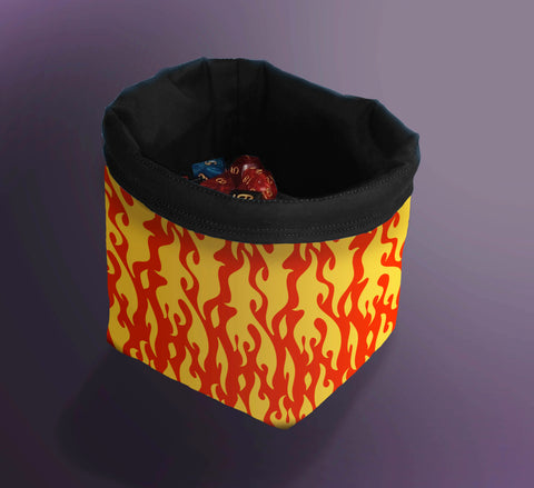 Dice Bag, Bag of Holding, Bag for Dice, Fire Dice Bag, Flaming Dice Bag