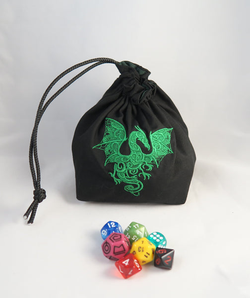 Embroidered Dice Bag-  Dragon