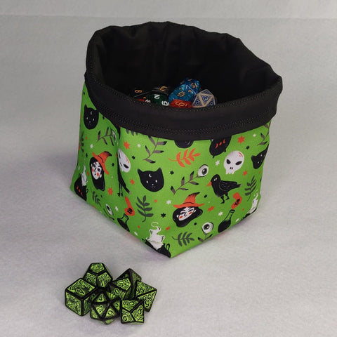 Printed Dice Bag- Green Witches Bag