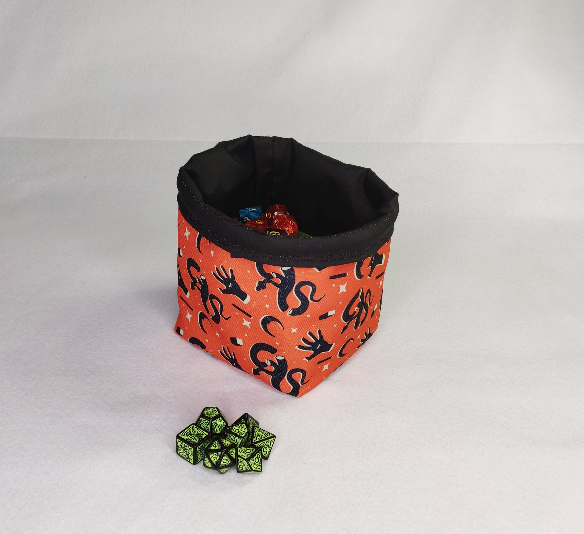 Printed Dice Bag- Orange Magic and Mystical