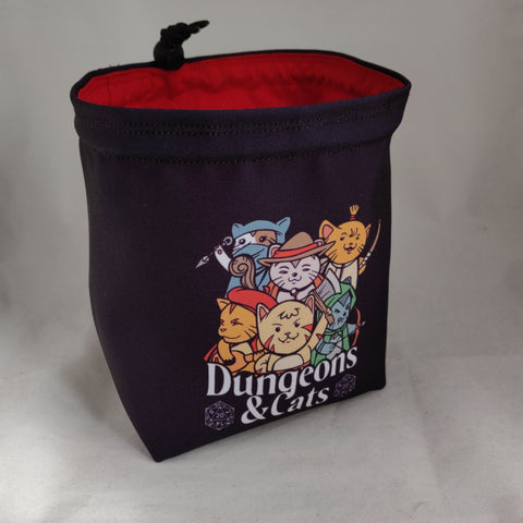 Dungeons and Cats Dice Bag, Perfect Gift for Cat Lovers, Cat Owner Gift, D&D Gift, Dice Storage Bag, Board Game Storage