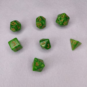 Dice Set - Lime Green Marble