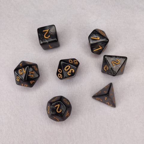 Dice Set - Grey Black Marble