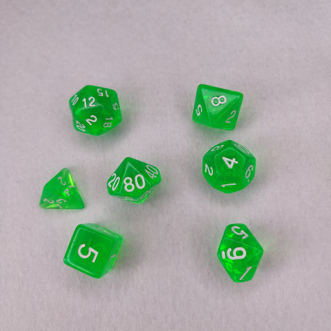 Dice Set - Clear Green