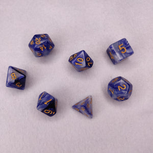 Dice Set - Blue White Marble