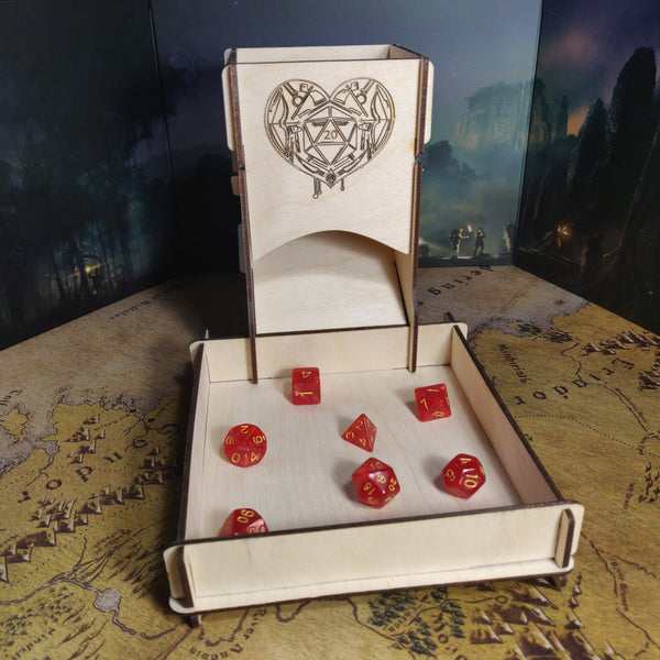 Laser Cut Wooden Dice Tower- D20 Heart