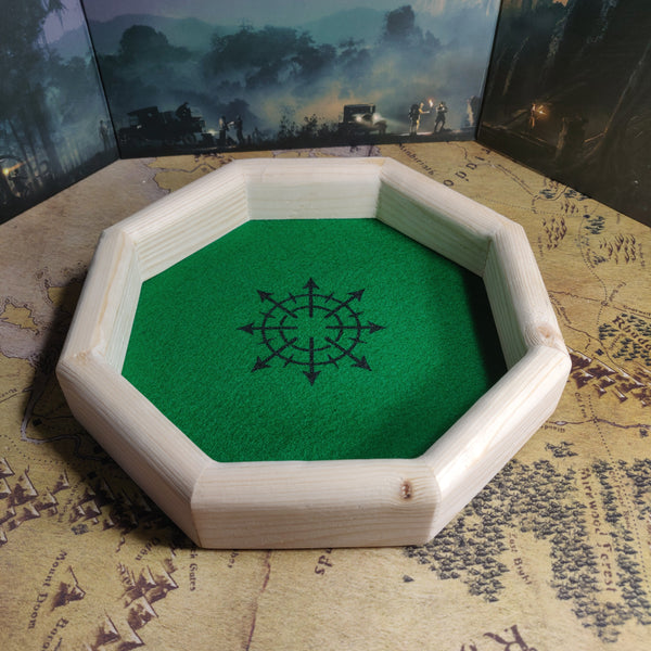 Octagon Wooden Dice Tray - Chaos Symbol Design