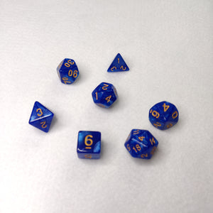 Dice Set - Blue Gold Marble