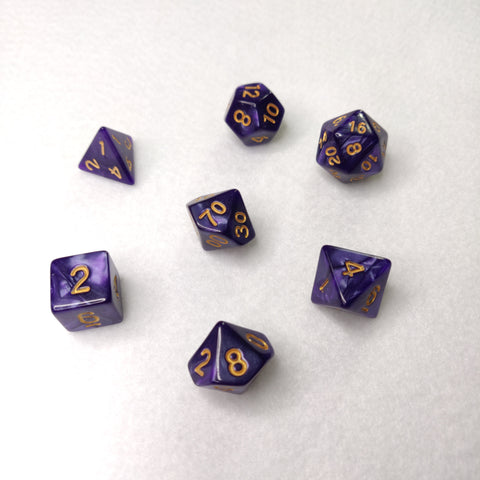 Dice Set - Midnight Purple Marble