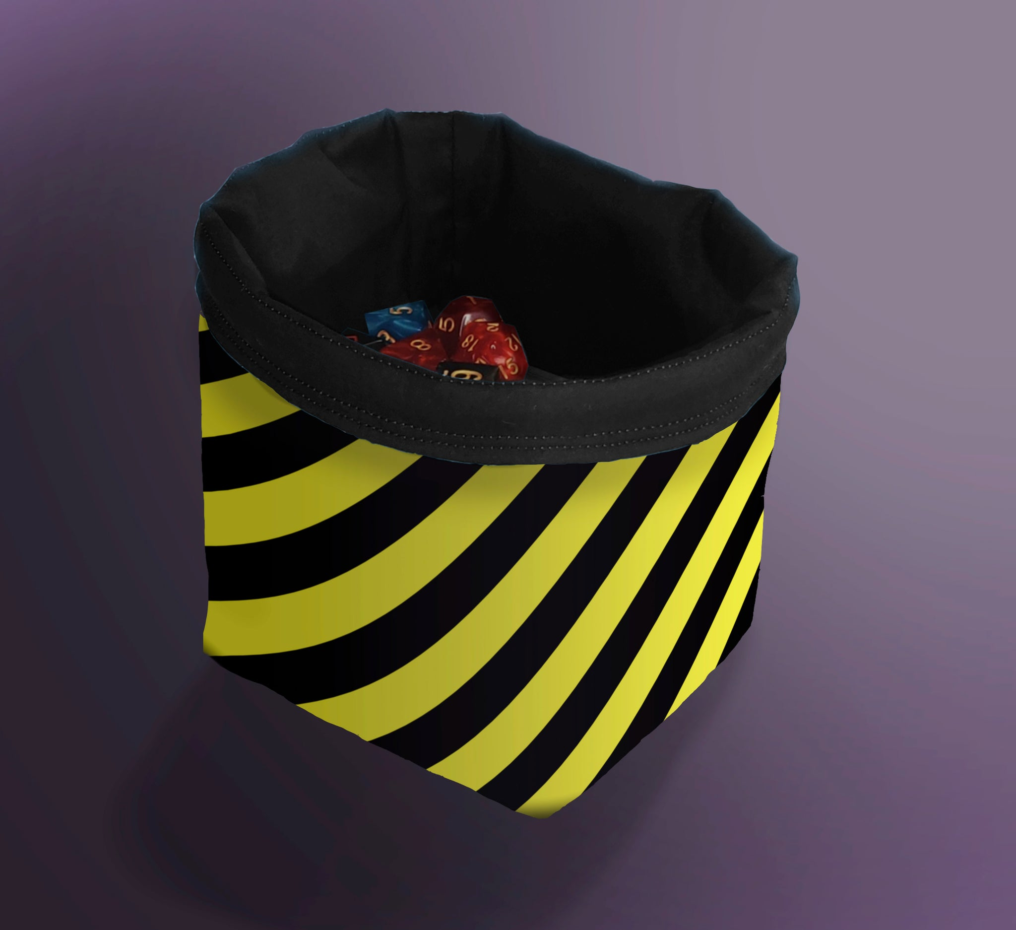 Hazard Warning Dice Bag, Diagonal Striped Bag, D&D Dice Bag, Bag for Dice, Token Bag, Draw Bag, Monster Cup