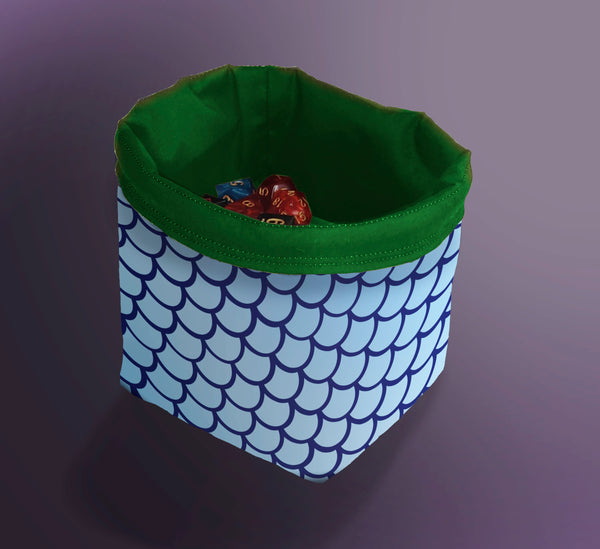 Printed Dice Bag- Blue Fishscales Bag