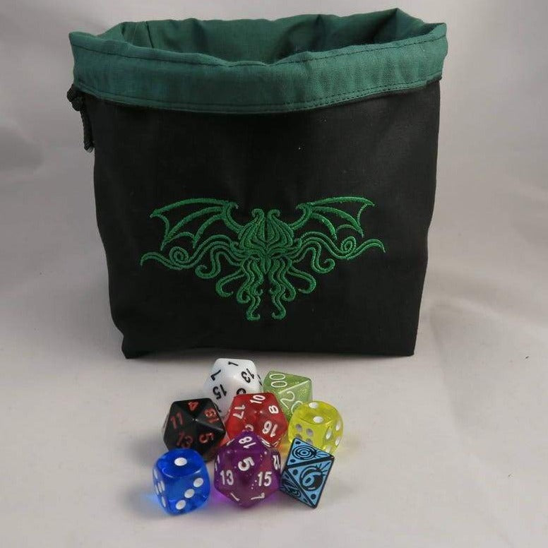 Cthulhu Dice Bag, Arkham Horror Bag, Bag for Arkham Tokens, Embroidered Dice Bag