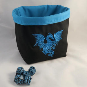 Embroidered Dice Bag, Dragon Dice Bag, Board Game Gift, D&D Gift, Dice Storage Bag, Tabletop Gaming Bag, Freestanding Dice Bag