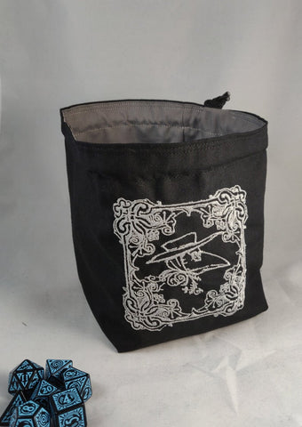 Embroidered Dice Bag-  Plague Doctor Dice Bag
