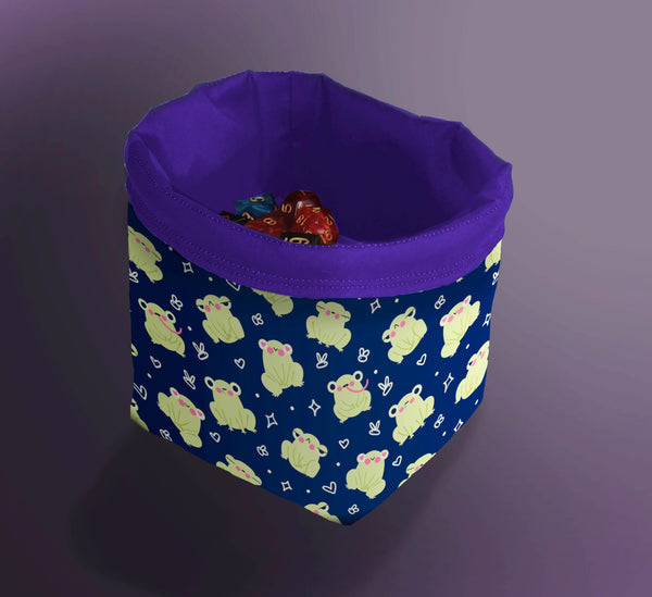 Printed Dice Bag- Cute Frogs