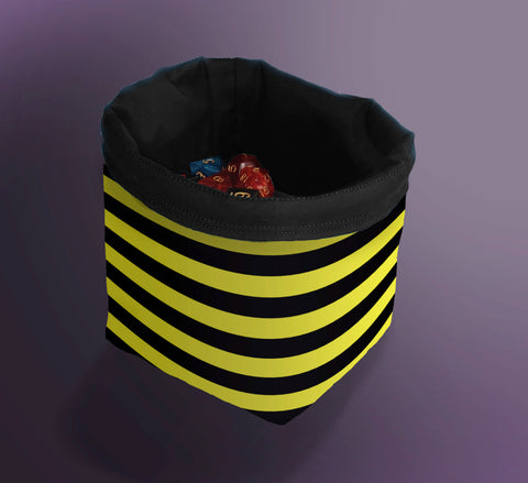 Printed Dice Bag-  Yellow Striped Bag