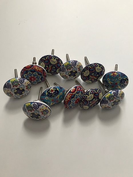 10 Ceramic Colorful Knobs