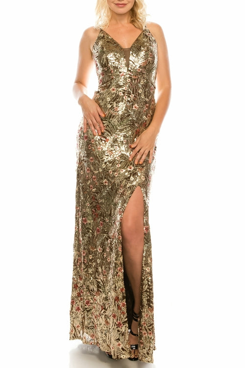Cachet Mocha Sequined & Floral Embroidered Gown