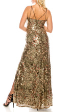 Load image into Gallery viewer, Cachet Mocha Sequined & Floral Embroidered Gown