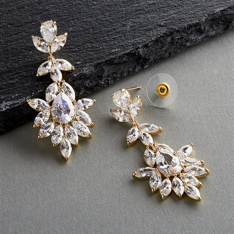 14K Gold Plated Dangle Wedding Earrings for Brides or Bridesmaids with Marquis & Pear CZ 4620E-G