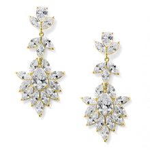 Load image into Gallery viewer, 14K Gold Plated Dangle Wedding Earrings for Brides or Bridesmaids with Marquis & Pear CZ 4620E-G