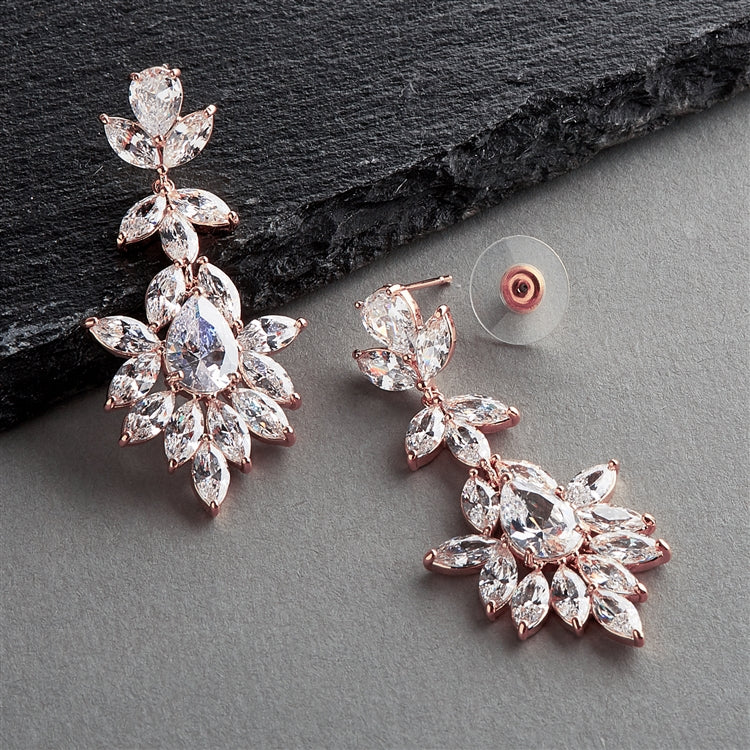 Rose Gold Plated Dangle Wedding Earrings for Brides or Bridesmaids with Marquis & Pear CZ 4620E-RG