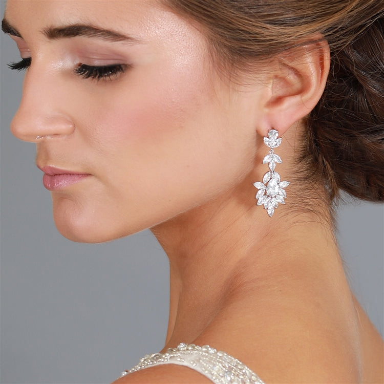Platinum Silver Dangle Wedding Earrings for Brides or Bridesmaids with Marquis & Pear CZ 4620E-S