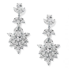 Load image into Gallery viewer, Platinum Silver Dangle Wedding Earrings for Brides or Bridesmaids with Marquis & Pear CZ 4620E-S