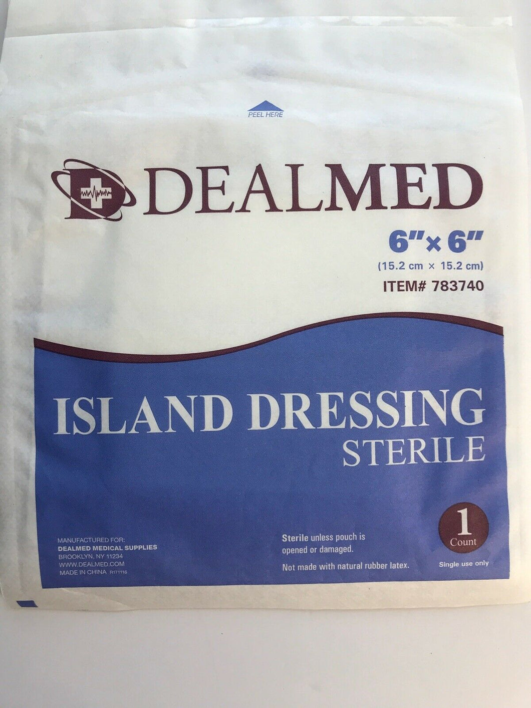 "4 DealMed 6""x6"" Sterile Island Dressings"