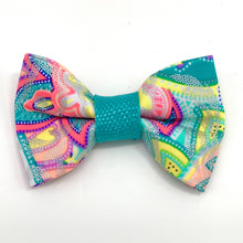 Load image into Gallery viewer, Shiny Turquoise Dog Collar & Bow Tie Set