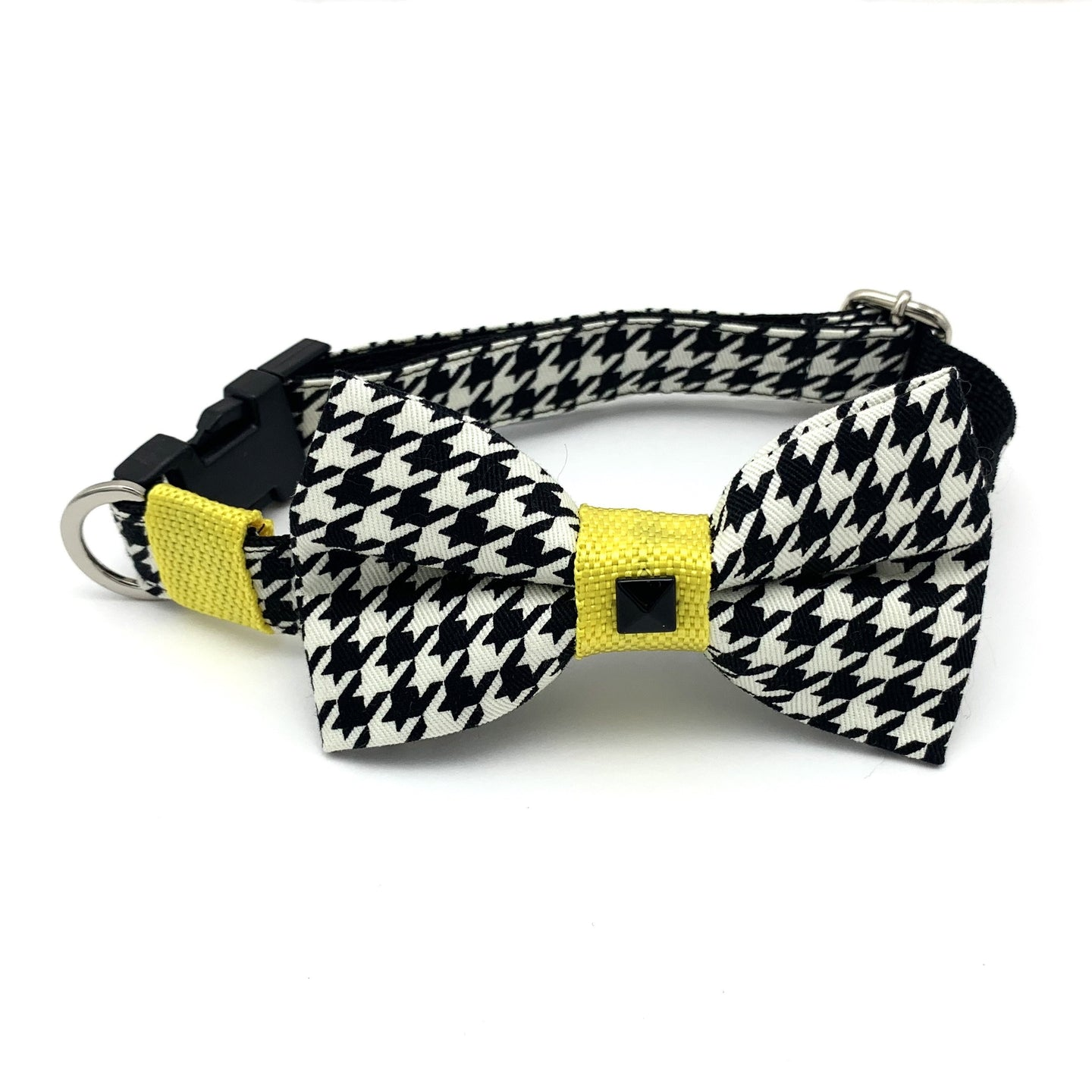 Yellow Houndstooth Collar & Bow Tie Set S