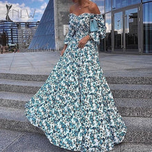 Load image into Gallery viewer, Off Shoulder Evening Maxi Dress