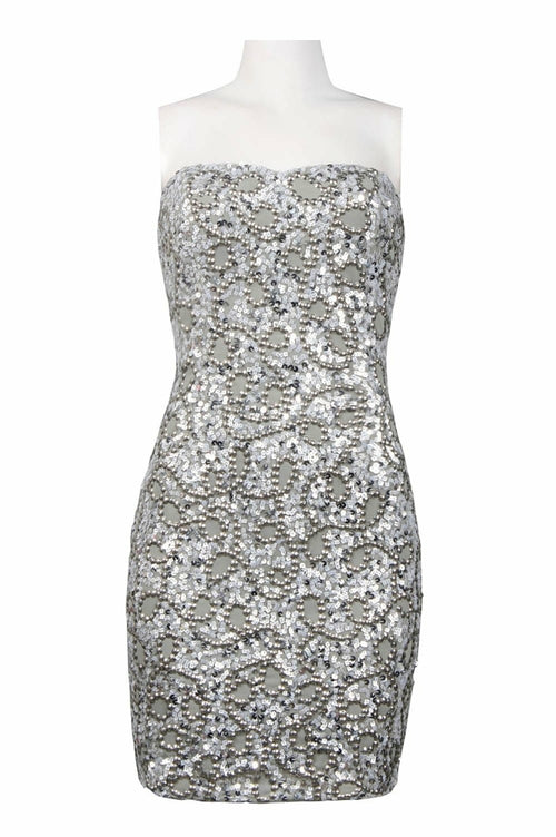 Adrianna Papell Strapless Beaded Dress Petite