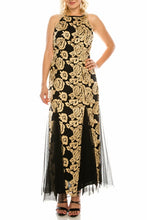 Load image into Gallery viewer, Alex Evenings Black Gold Floral Embroidered Evening Gown