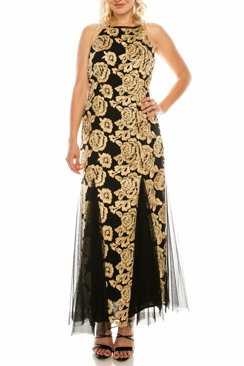 Alex Evenings Black Gold Floral Embroidered Evening Gown