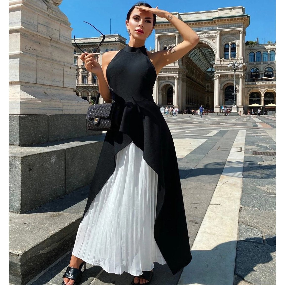 White & Black Patchwork Draped Dress