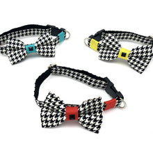 Load image into Gallery viewer, Yellow Houndstooth Collar & Bow Tie Set S