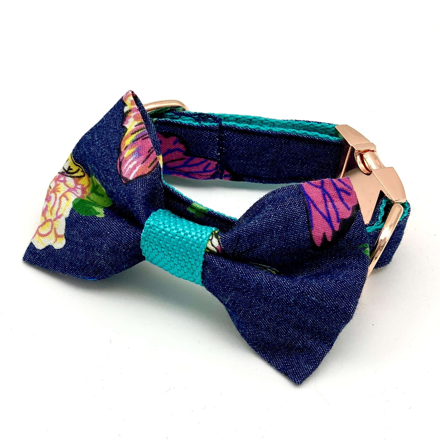 Butterfly Denim Dog Collar & Bow Tie Set