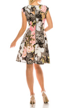 Load image into Gallery viewer, Gabby Skye Black Multi Floral Printed Circle Skirt Dress