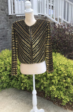 Load image into Gallery viewer, Size Small Vintage Night Vogue Black And Gold Jacket
