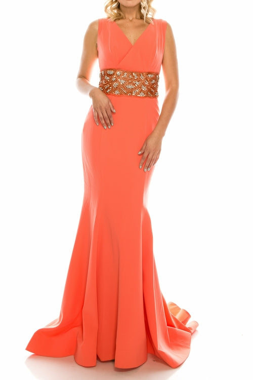 Odrella Peach Crepe Trumpet Gown with Decorated Mesh Waist