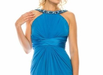 Odrella Blue Embellished Halter Evening Dress