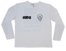 Load image into Gallery viewer, Smile More White Tee AWU with logo and back