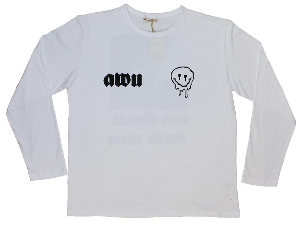 Smile More White Tee AWU with logo and back